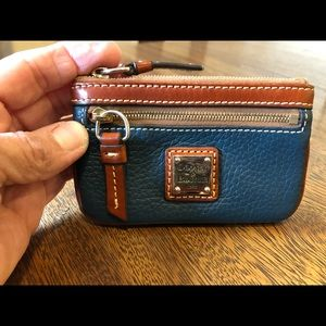 Dooney & Bourke-Leather coin/key purse-Blue green